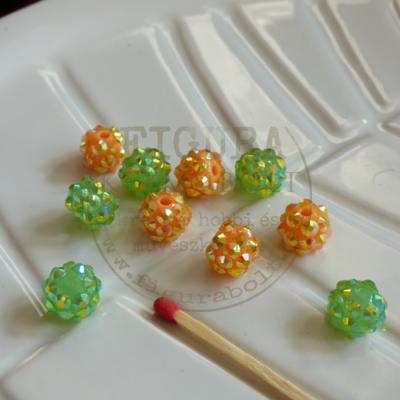 Chambala jellegű gyöngy, 10mm zöld és narancs 5-5db