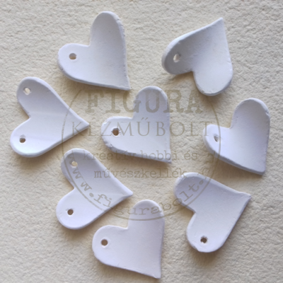 Fehér kerámia szív csomag 35mm 8db enyhén domború