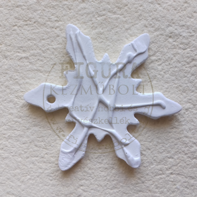 Fehér kerámia csurgatott mintás hópehely csomag 58mm 6db