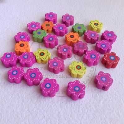 fa gyöngy csomag 35g 15mm virág vegyes szín (rózsaszín, sárga, narancs, stb.)