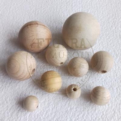fa golyó, fa gyöngy natúr 18mm