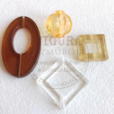 Bizsu gyöngy négyzet 27*27mm 8mm vastag - CSILLÁMOS SÁRGA áttetsző