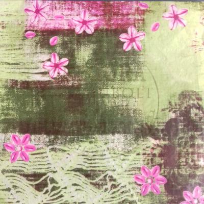 Decopatch papír (tépőpappír) 30*39cm - Világoszöld, rózsaszín virágokkal