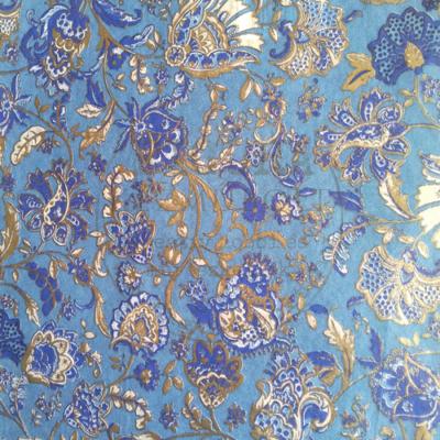 Decopatch papír (tépőpappír) 30*39cm - Kék alapon arany virágmintás