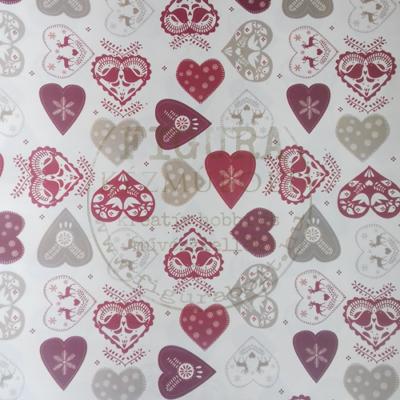 Decoupage papír (dekupázs) Tasotti 50*70cm - Mintás szívek Bordó-piros-fehér