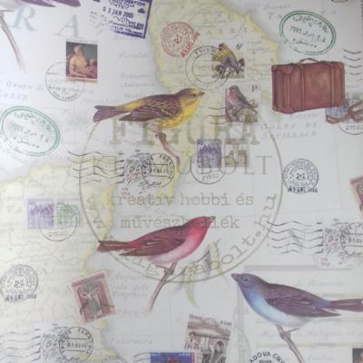 Decoupage papír (dekupázs) Tasotti 50*70cm - Madarak, bélyegek