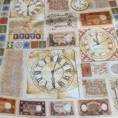 Decoupage papír (dekupázs) 50*70cm - Órák, bankjegyek, bélyegek DFG315