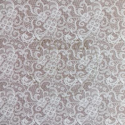 Mintás karton kétoldalas fényes 50*70cm - Világosbarna alapon fehér csipkés
