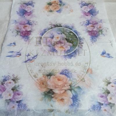 Rizspapír 33*48cm - Rózsák lila árnyalatban