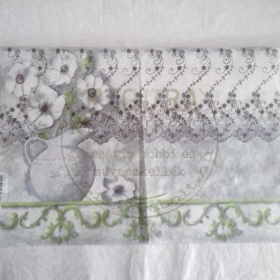 Rizspapír 33*48cm - Fehér virágok vázában