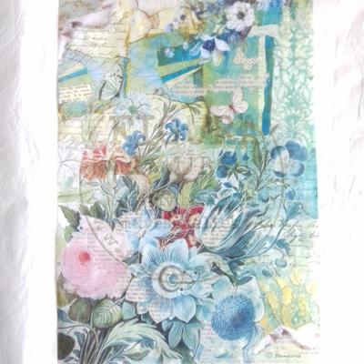 Rizspapír A4 Stamperia - Kék virágos