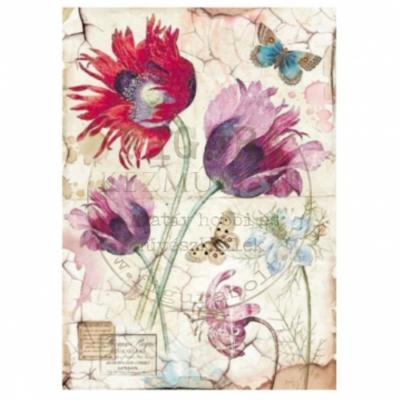 Rizspapír A4 Stamperia - Lila, piros tulipánok