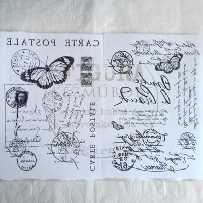 Transzfer papír 2*A4 - Pillangó bélyeggel / Kézírások