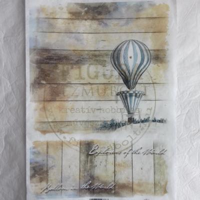 Rizspapír A4 - Hőlégballon - deszka háttér