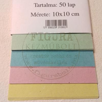 Színes hajtogatólap 10*10cm 50db - sárga, rózsaszín, kék, zöld