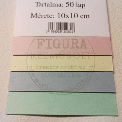 Színes hajtogatólap 10*10cm 50db - pasztell sárga, rózsaszín, kék, zöld