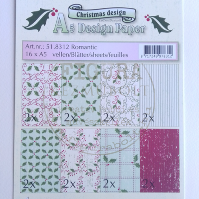 A5 dekor karton szett 16db magyal-zöld