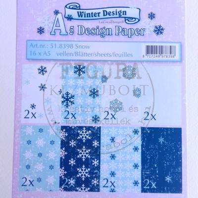 A5 dekor karton szett 16db hópehely-kék