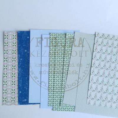 A5*10db dekor karton vegyesen magyal-zöld, hópehely-kék