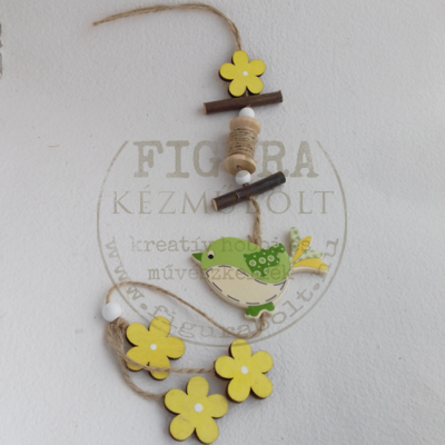 Fa virágfüzér madárral 50cm - Zöld-Sárga