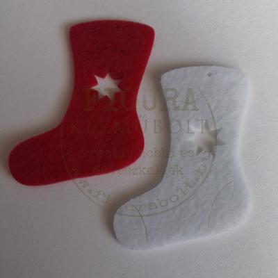 Filc dekorációs figura szett: Mikulás zokni 5*7cm piros-fehér 6db