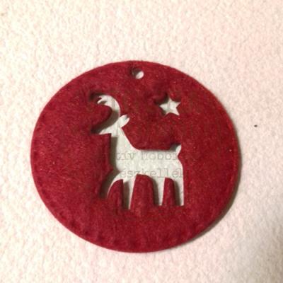 Filc dekorációs figura 58mm: BAK - PIROS