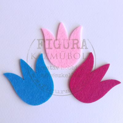 Filc dekorációs figura 3db tulipán 60mm (pink, rózsaszín, kék)