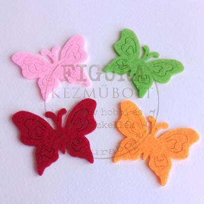 Filc dekorációs figura 4db pillangó 50*63mm (narancs, zöld, piros, rózsaszín)