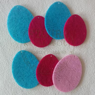Filc dekorációs figura 7db tojás (3*50mm ciklámen, 3*60mm kék, 1*60mm rózsaszín)