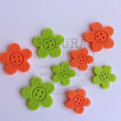 Filc dekorációs figura szett: Virágok 8db*3-4cm 2szín
