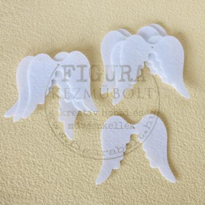 Filc dekorációs figura szett: Angyalszárnyak 6cm 8db FEHÉR