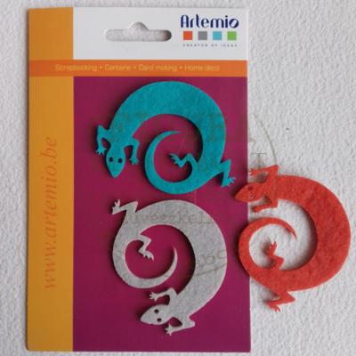 Filc dekorációs figura szett: Gyíkok 3db*7cm 3szín