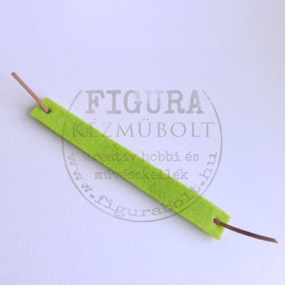 Filc karkötő alap, 2cm*15cm díszíthető felülettel, bőr kötővel - VILÁGOSZÖLD