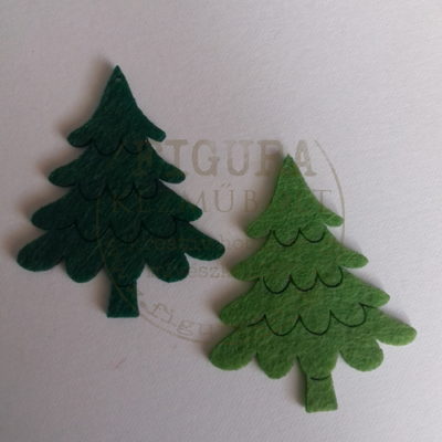 Filc dekorációs figura szett: Fenyőfa 5*6cm 6db kétféle zöld