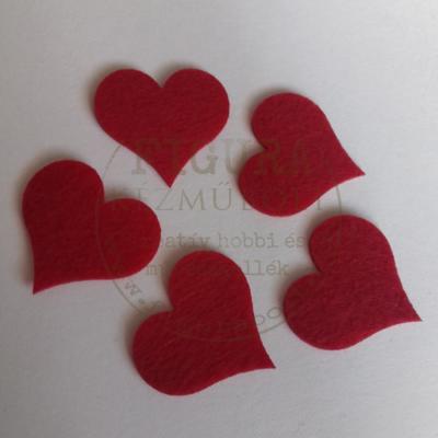 Filc dekorációs figura szett: Szív 36*40mm 10db piros