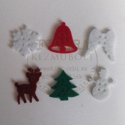 Filc dekorációs figura szett: 6 féle karácsonyi forma 25mm 14db (négy szín)