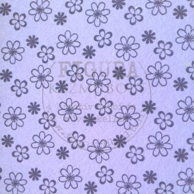 Mintás Filc anyag (dekorfilc) A4/1mm - LILA / FEKETE VIRÁGOK