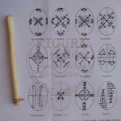 Íróka - népi (gica) 12cm, csőr 15mm, leírással, mintaívvel