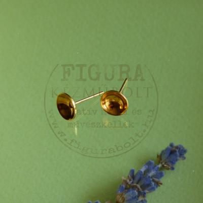 Fülbevaló alap, 8mm-es gyöngyhöz, óarany színű 2db/cs