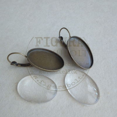Fülbevaló alap, francia kapcsos 18*25mm lencse és foglalat bronz színű 2db/cs