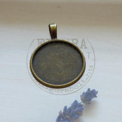Fém medál alap 25mm kör, sima peremes, bronz színű