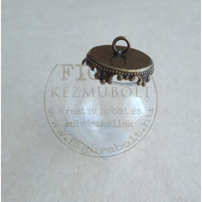 Üveggömb medál 25mm-es, bronz színű kupakkal