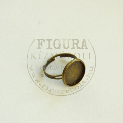Gyűrű alap, bronz színű, állítható 3mm széles szár, 14mm foglalat