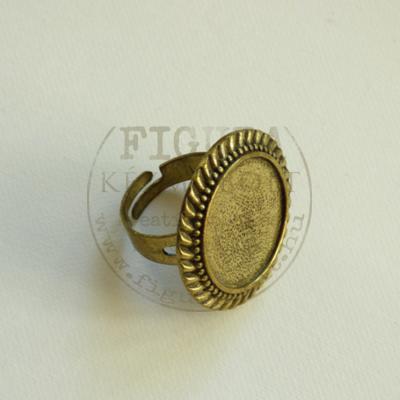 Gyűrű alap, bronz színű, állítható 6-8mm széles szár, 20mm fodros foglalat