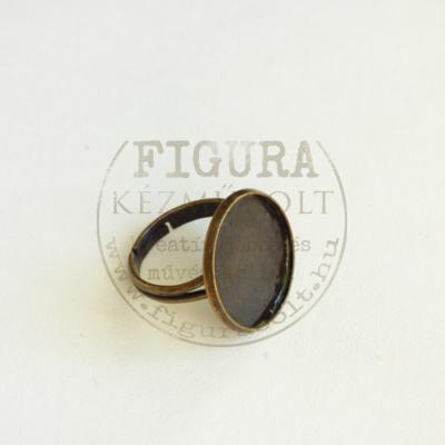 Gyűrű alap, bronz színű, állítható 3mm széles szár, 18mm foglalat