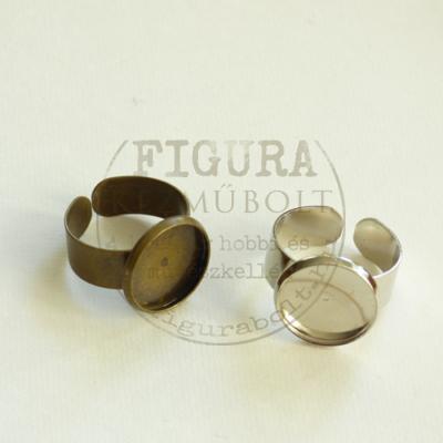 Gyűrű alap, ezüst színű, állítható 7mm széles szár, 14mm foglalat