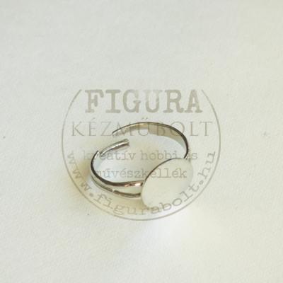 Gyűrű alap, ezüst színű, állítható 3-5mm széles szár, 12mm tárcsa
