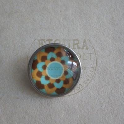 Gyűrű alap patentfoglalathoz cserélhető patent dísz 18mm - mandala 3. (barna-kék-sárga)