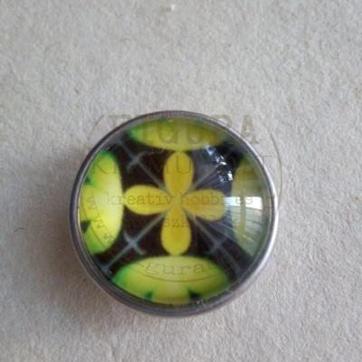 Gyűrű alap patentfoglalathoz cserélhető patent dísz 18mm - mandala 8. (sárga-fekete)
