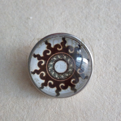 Gyűrű alap patentfoglalathoz cserélhető patent dísz 18mm - mandala 9. (barna-fehér)